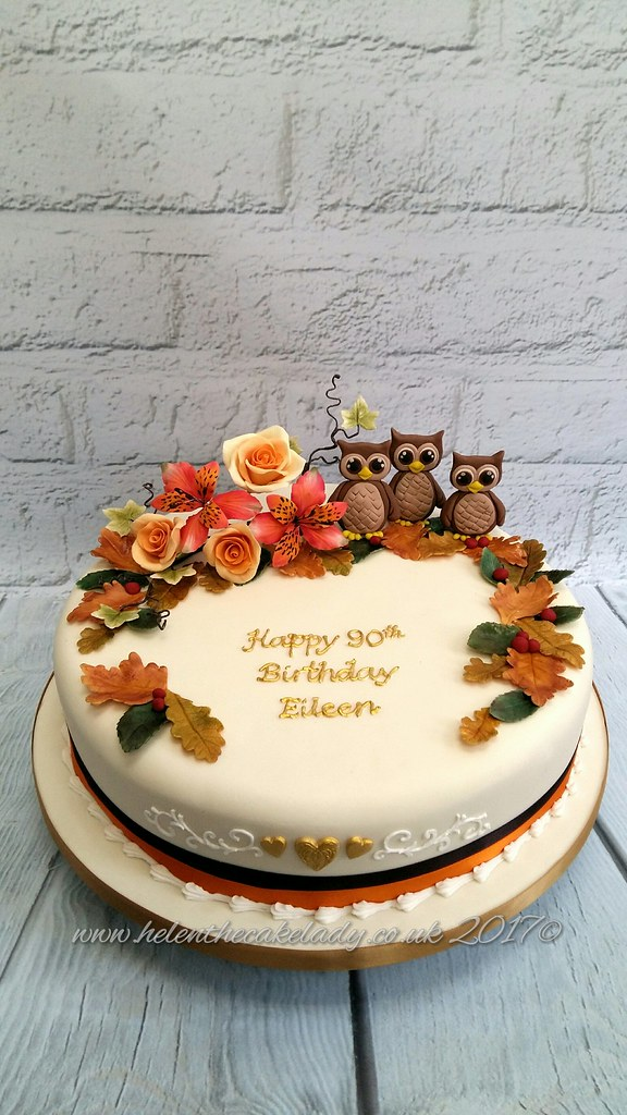 Prime Autumn Themed Birthday Cake With Owls Helen Flickr Funny Birthday Cards Online Fluifree Goldxyz