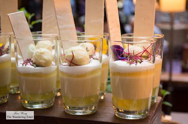 Parfaits of lemon and yogurt topped with white chocolate truffle
