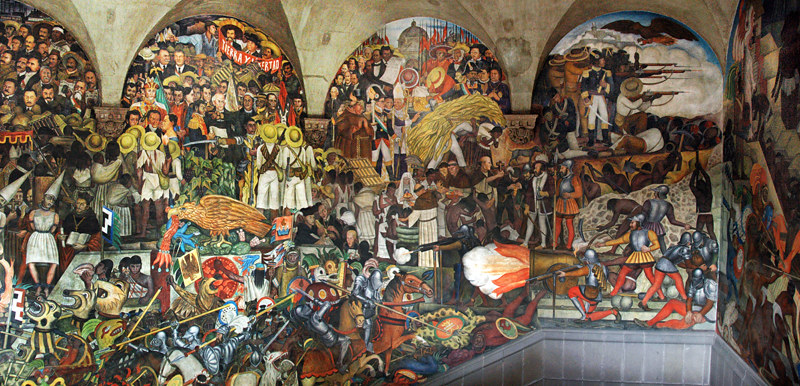 Mural of the history of Mexico by the famous muralist Diego Rivera in Mexico City