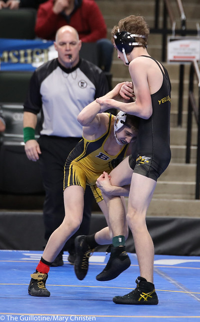Semifinal - Maxwell Petersen (Byron) 45-2 won by major decision over Owen Werner (Perham) 40-8 (MD 14-5). 180303AMC5162