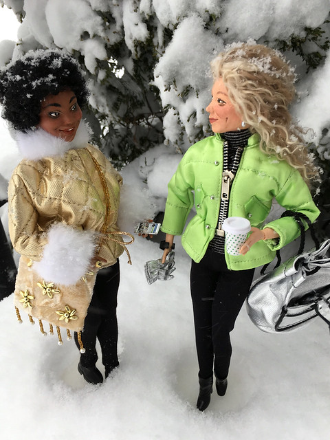 Toni and Lil in the snow.