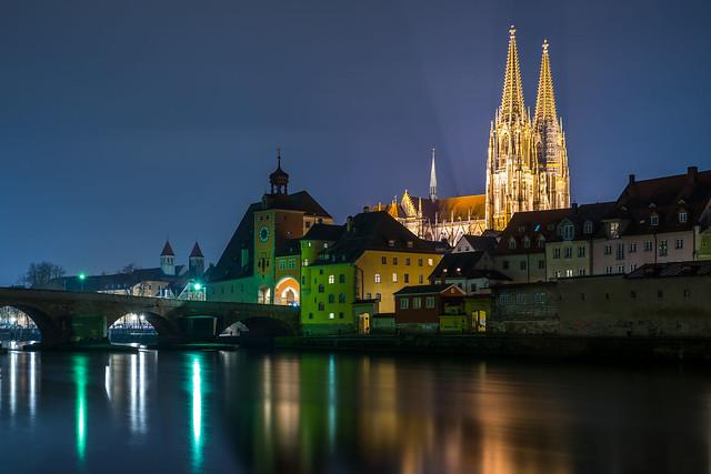 Regensburg at Night - Upper Palatinate, Germany