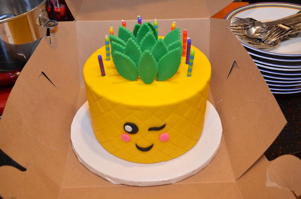 Astounding Pineapple Emoji Birthday Cake It Was Shaped Like A Pineapp Flickr Personalised Birthday Cards Akebfashionlily Jamesorg