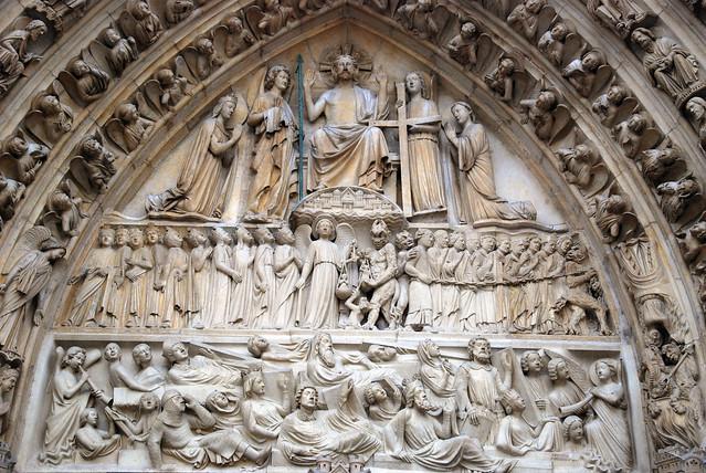 Paris, cathedral Notre-Dame, West facade, central portal, tympanum: Last Judgment, ca. 1220-1240 (lintel 19th c.).