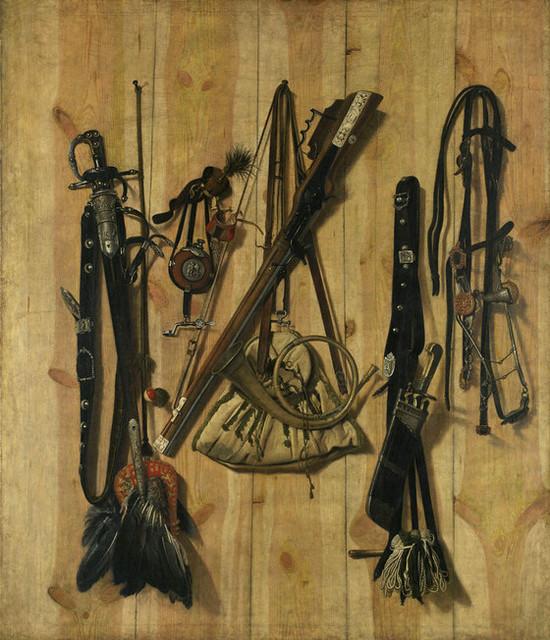 Franz de Hamilton, Jagdgeräte an einer Bretterwand - Hunting equipment on a wooden wall