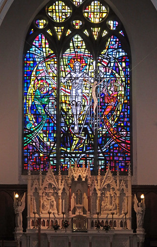 Stained-glass windows in St. Patrick's Cathedral in Galway, Ireland