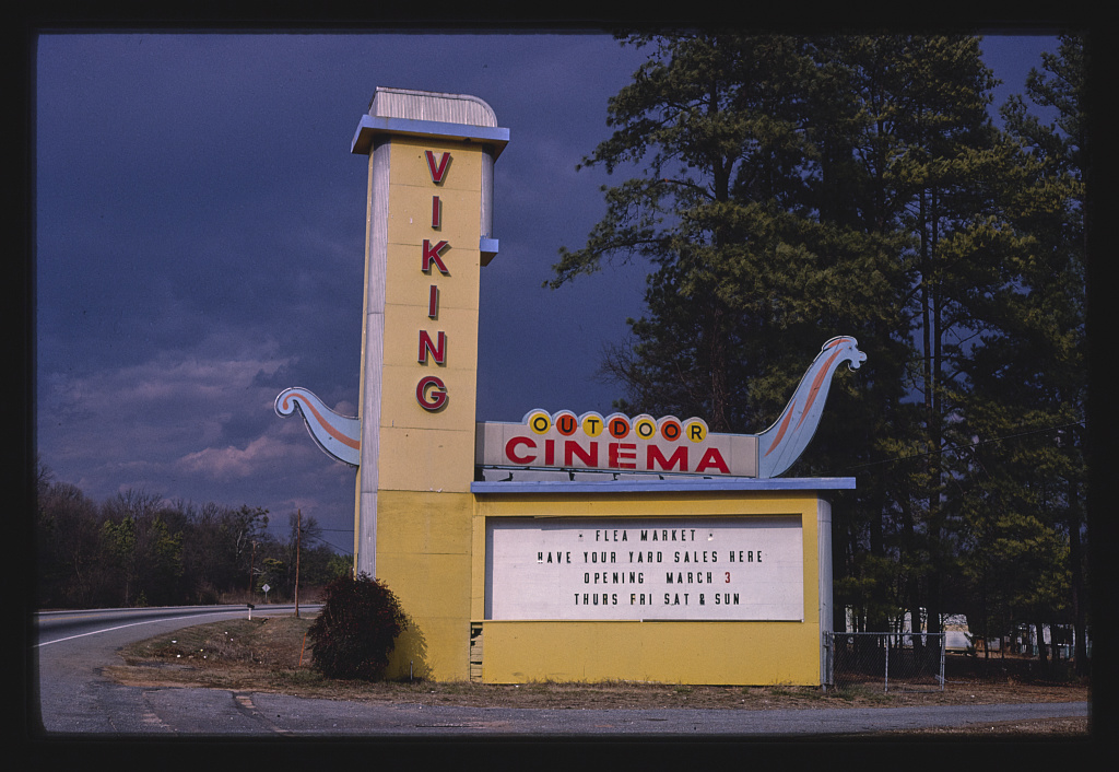 Viking Drive-In Theater sign, darker sky, Route 29, Anderson, South Carolina (LOC)