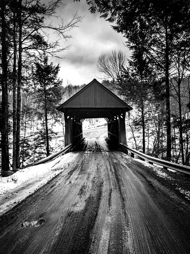 coveredbridge redcoveredbridge bridge old historic road countryside rural contrast winter snow dirtroad mud muddy muddyroad morristown vermont vt unitedstatesofamerica usa samsunggalaxys7 galaxys7 blackandwhite monochrome bw mono fav10 fav25