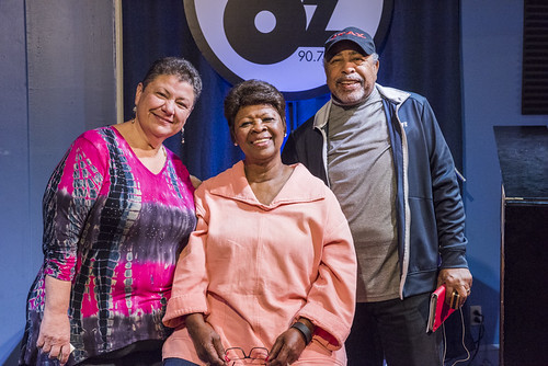Irma Thomas and Warner Williams with Beth Arroyo Utterback at WWOZ Spring 2018 Pledge Drive on March 22, 2018. Photo by Ryan Hodgson-Rigsbee RHRphoto.com