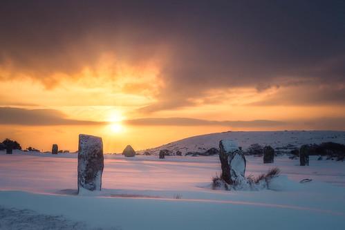 hurlers panasonic1235mmf28x thehurlers bodminmoor minions rocks gx8 panasonic sunrise luminar2018 stonecircle cornwall lumix snow