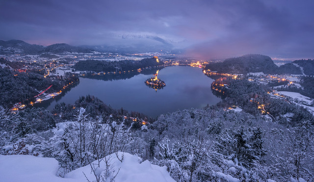 Bled on a winter evening