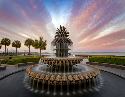pineapple fountain landscape charleston sc south carolina southcarolina waterfrontpark sunset