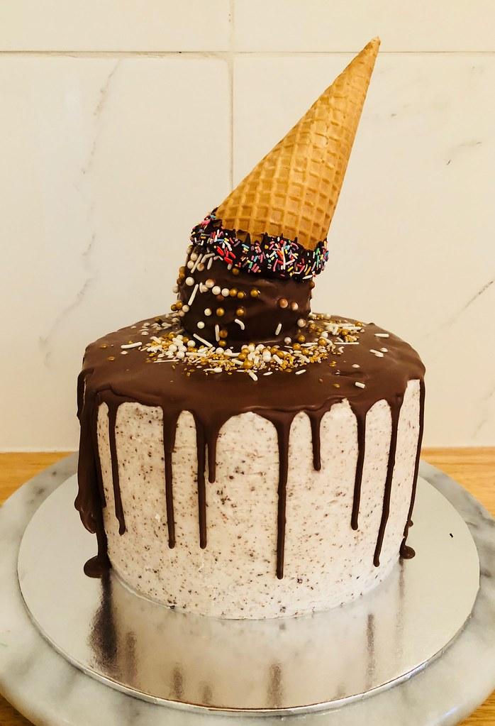 Enjoyable Mocha Birthday Cake With Cookies And Cream Frosting Flickr Funny Birthday Cards Online Hendilapandamsfinfo
