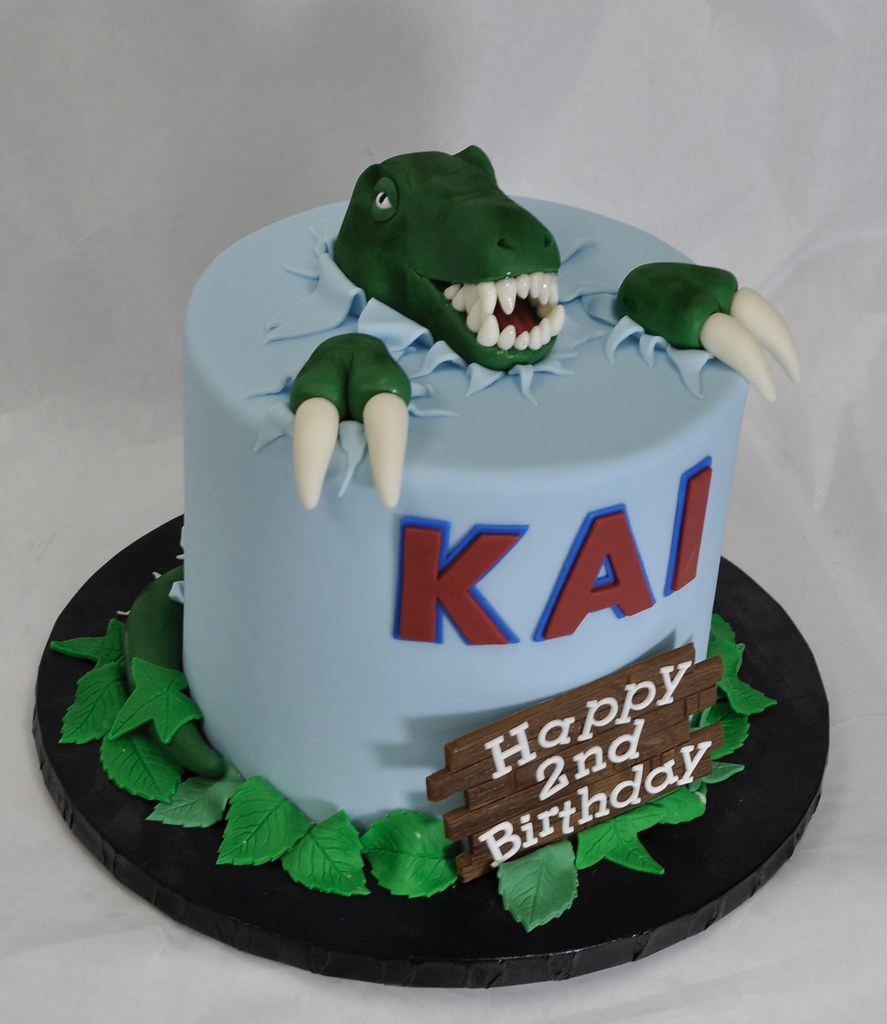 Swell Dinosaur Birthday Cake Jenny Wenny Flickr Personalised Birthday Cards Bromeletsinfo