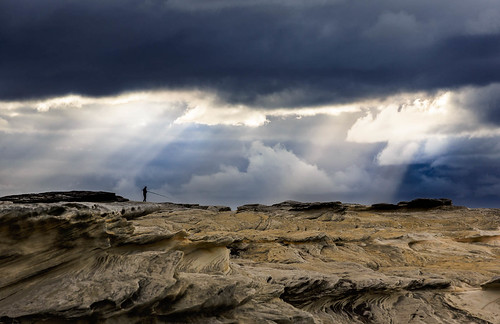 kurnell newsouthwales australia au fishing fisherman potter point rule thirds cloud ray sun sandstone