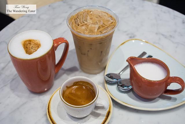 Cappuccino, iced latte, cortado
