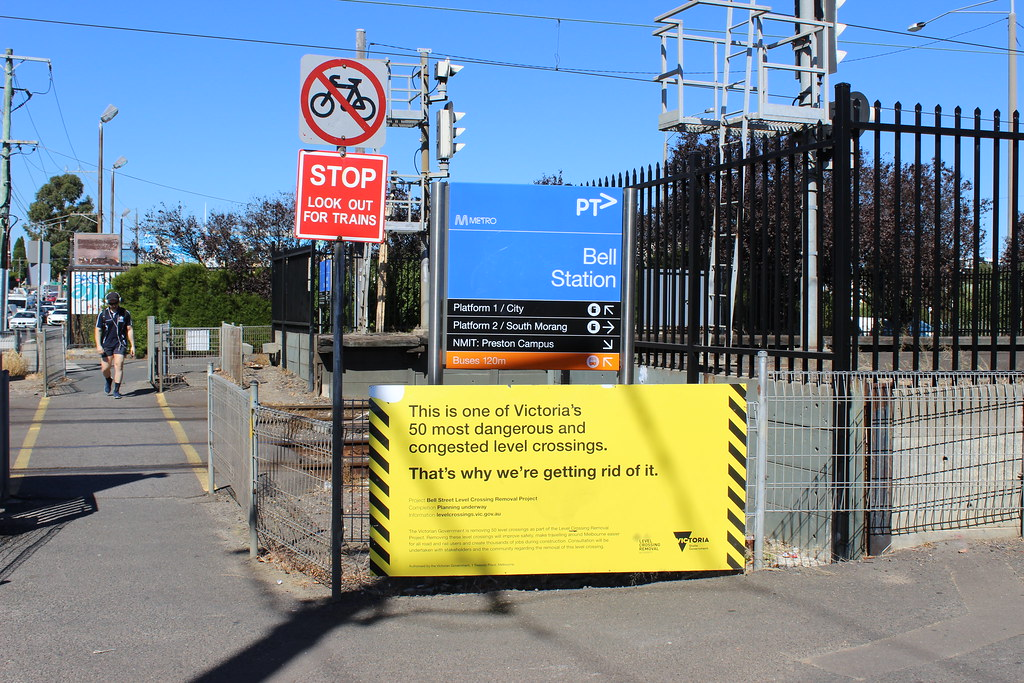 Level Crossing Removal Authority sign at Bell Street level