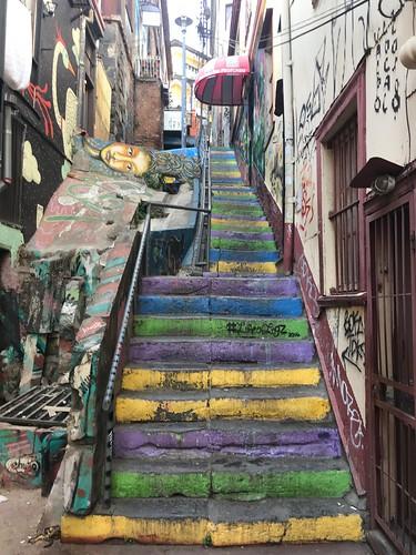cerroconcepcion valparaiso urban decoration arte graffiti tagging stairway concepción coloured expression painted