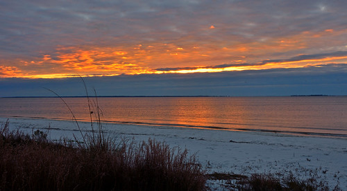 sunrise ocean beach water clouds orange reflection sand landscape nature outdoors carrabellebeach florida