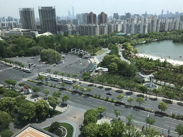 Several school classes come out from the Da'ning Lingshi Park in Shanghai, which is in the north-west of the city center of this megacity.