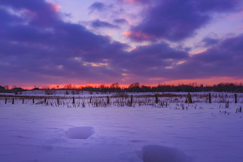 beautifulview burningsky clouds cold field footsteps glowingsky landscape nature sky snow sun sundown sunset warm winter