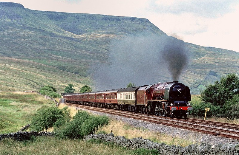 46229 Duchess of Hamilton nears Ais Gill summit with a CME on 14/8/1993.This trip saw the fastest recorded preserved steam timing of 16 minutes 14 seconds for the climb from Appleby Copyright David Price No unauthorised use