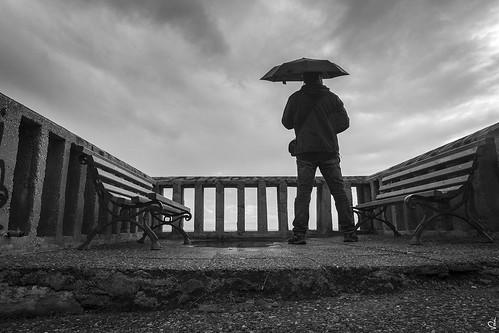 rain umbrella bw monochrome greece