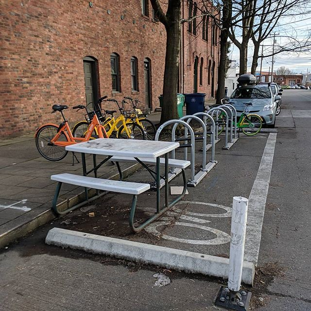 Tactical parklet in bike parking installation in Ballard