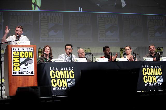 Chris Hardwick, Kathleen Kennedy, J. J. Abrams, Lawrence Kasdan, John Boyega, Daisy Ridley & Oscar Isaac