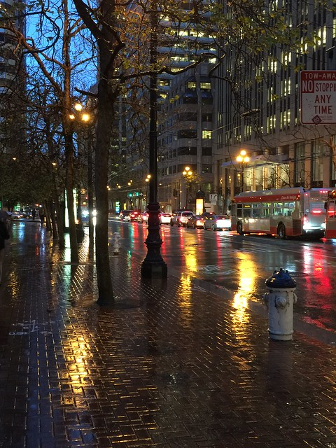 A rainy night on Market Street