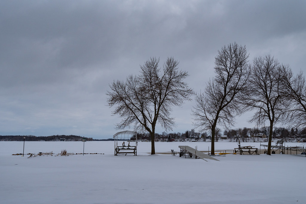 Hint Of Winter As Madisons Lakes Start >> Docks Along Frozen Madison Lake In Winter Minnesota Flickr