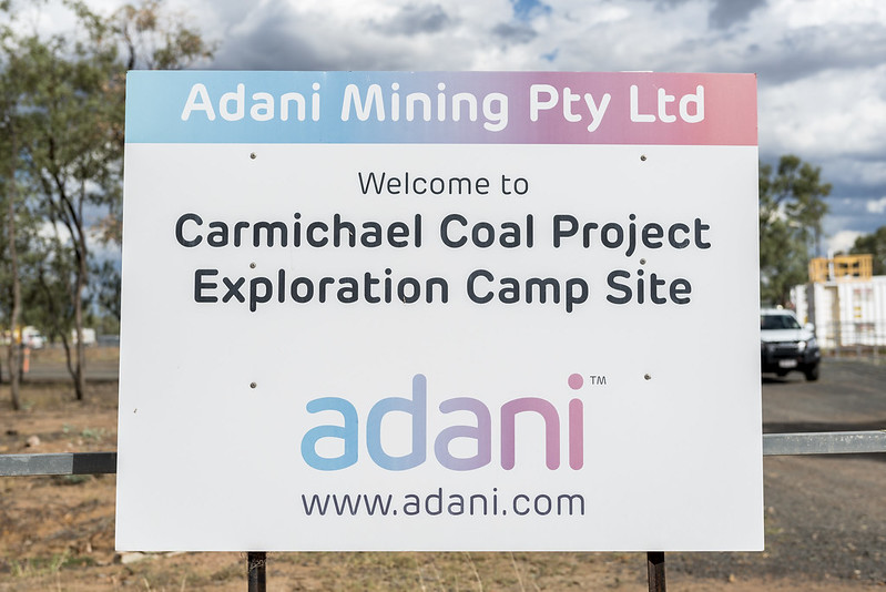 Adani mine site sign