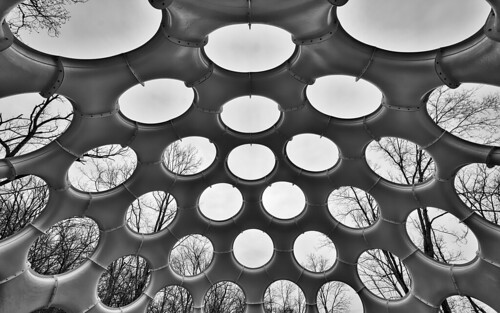 hdr black white flys eye dome crystal bridges arkansas geodome geodisc sony a7r2 monochrome buckminster museum