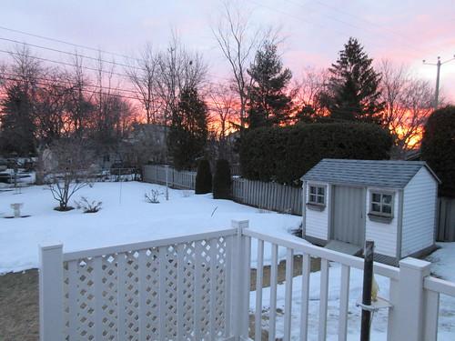 leverdesoleil sunrise cour yard arbre tree clôture fence architecture cabanon neige snow m impatience saveearth supershot coth abigfave coth5