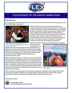 Congratulations to the March 2018 FLEX Student of the Month, Meder from Kyrgyzstan! | by FLEXprogram
