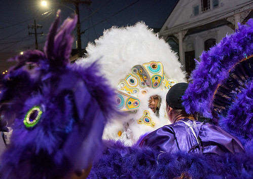 03 - Monogram Hunters Big Chief Pie meets Yellow Pocahontas Queen Gina Montana during Saint Joseph's Night in New Orleans on March 19, 2018. photo by Ryan Hodgson-Rigsbee RHRphoto.com