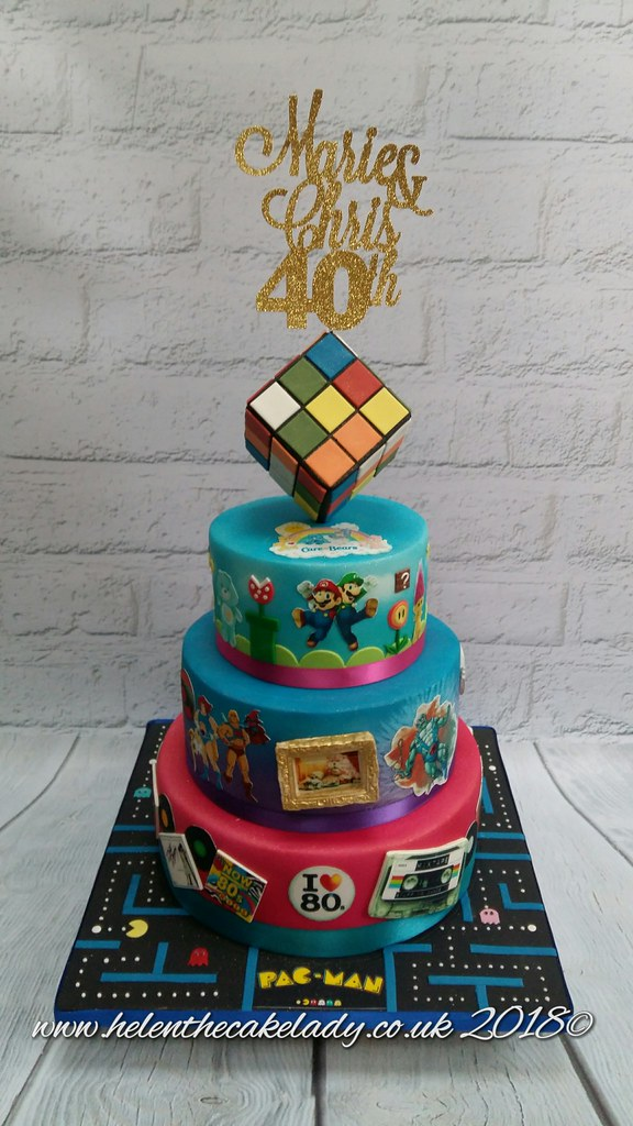 Pleasant 40Th Birthday Cake 80S Themed With Rubix Cube Helen Flickr Funny Birthday Cards Online Barepcheapnameinfo