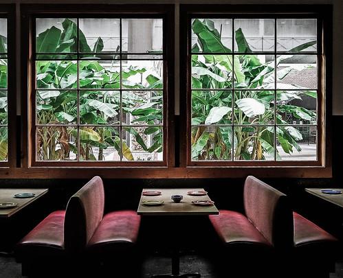 nickysmexicanrestaurant shreveport restaurant table bananaplants window downtownshreveport cellphonephotography booth view