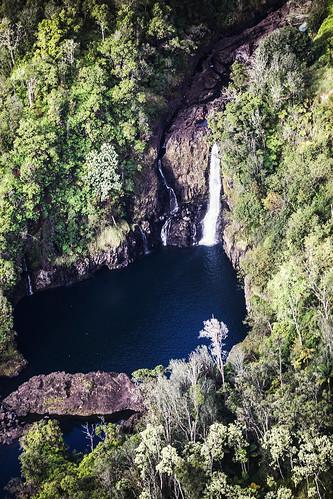 wailukuriver hookelekelestream hawaii hiloarea helicopter rainforest hilowatershedreserve waterfall cascade pool falls stream watercourse gully creek river kauwehufalls wyojones np
