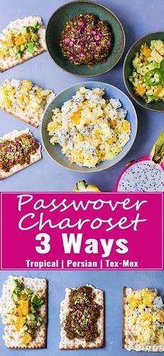Passover Charoset Three Ways: Tropical Charoset, Persian Dried Fruit Charoset and Tex-Mex Salsa inspired Charoset   by FerraroKitchen1