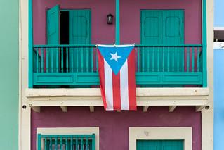 Puerto Rican flag in Old San Juan, Puerto Rico   by Lorie Shaull