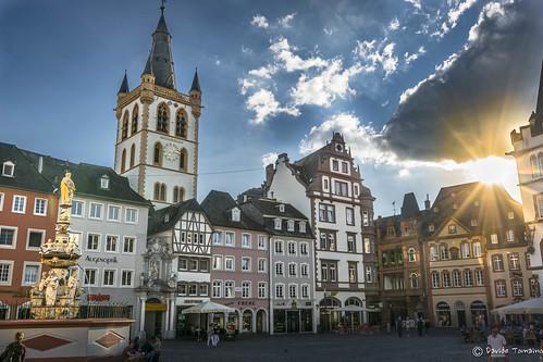 trier treviri sun sunset sky city deutschland hauptmarkt germany contrast place sunrise nikon sigma 1020