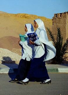 Two muslim girls going to school - Mut - Egypt. Free Stock Photo