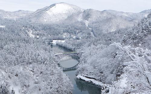 冬の第一只見川橋梁 (D)