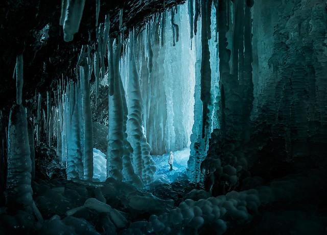 Blue ice cave exploration.