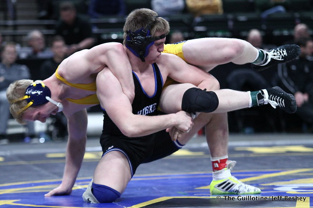 1st Place Match - Cade King (Owatonna) 44-0 won by decision over Calvin Sund (Prior Lake) 24-4 (Dec 6-4). 180303CJF0692