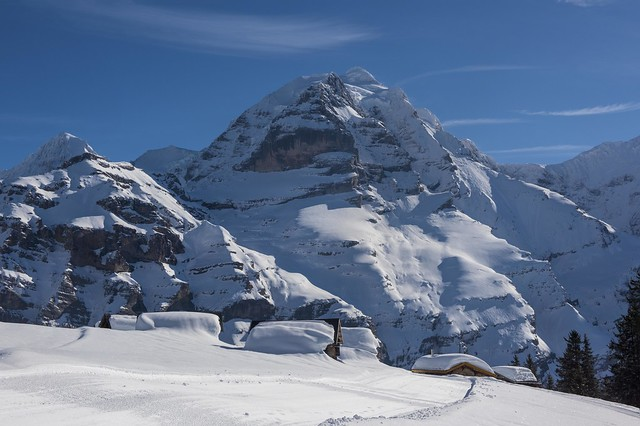 Swiss winter paradise, Murren and the Jungfrau Mountain. Canton of Bern, Switzerland. Izakigur no. 5789 5790.