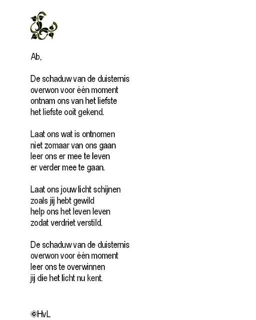Ab Dit Gedicht Heb Ik Gemaakt Ter Nagedachtenis Van Mijn B