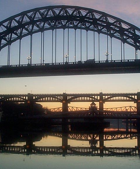 Newcastle Bridges with Low Level Sunset