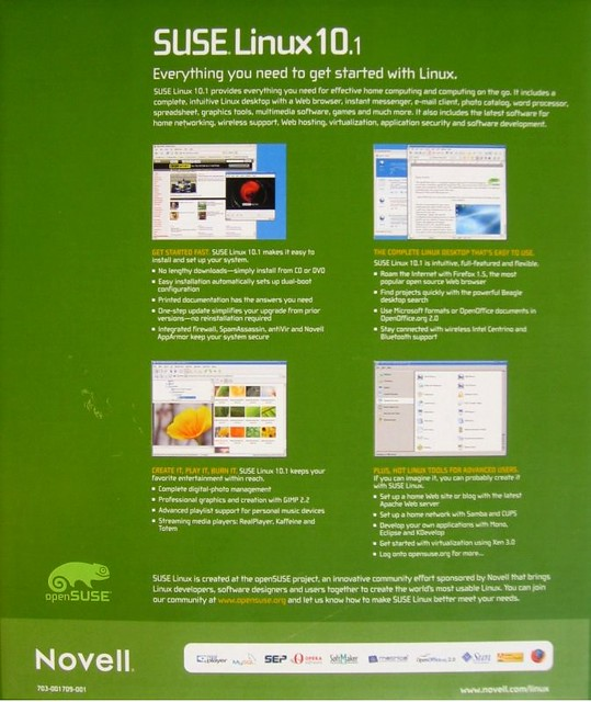 SUSE Linux 10 1 (back) | Back of the SUSE Linux 10 1 retail
